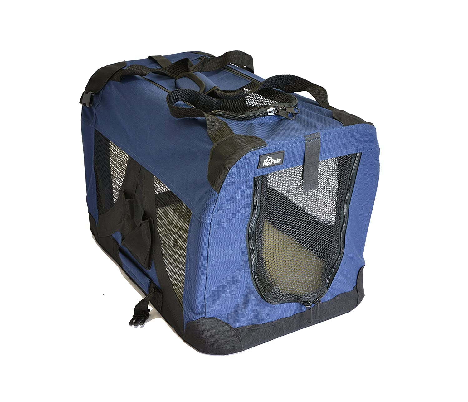 Dark bluee Small  20\ Dark bluee Small  20\ topPets Portable Soft Pet Carrier or Crate or Kennel for Dog, Cat, or Other Small Pets. Great for Travel, Indoor, and Outdoor (Dark bluee, Small  20 x14 x14 )