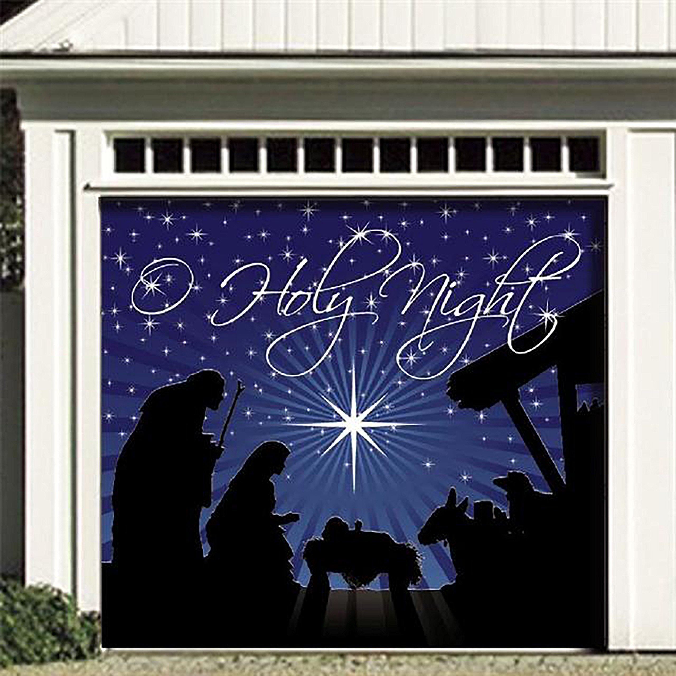 Outdoor Christmas Holiday Garage Door Banner Cover Mural Décoration - O'Holy Night Holiday Garage Door Banner Décor Sign 7'x8' by Victory Corps