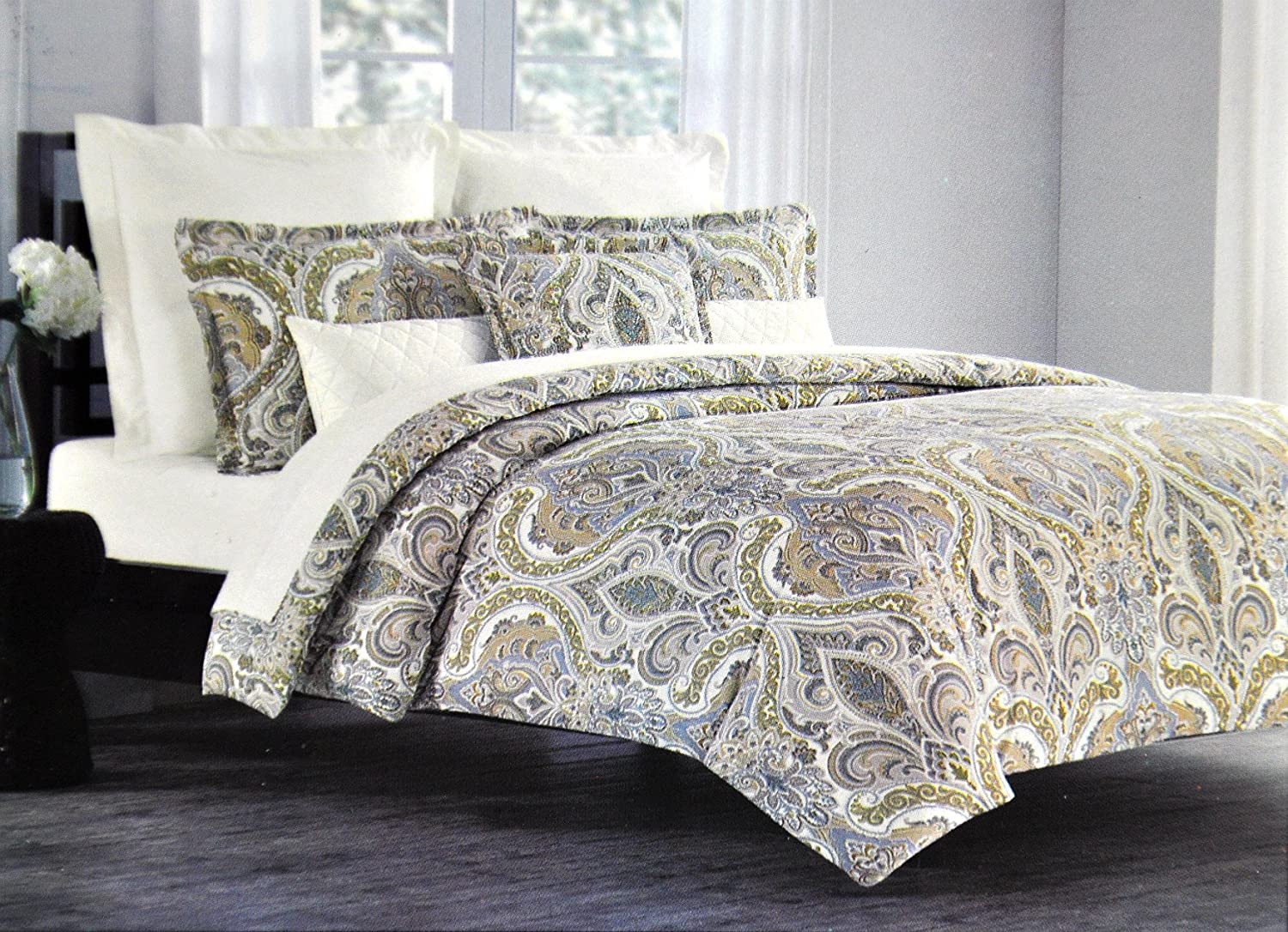 Tahari Home 3pc Duvet Cover Set Paisley Medallion Mustard Yellow Grey Beige White Luxury Cotton Sateen Full/Queen