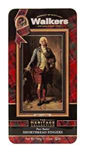 Walkers Shortbread Bonnie Prince Charlie Fingers Shortbread Cookie Gift Tin, 12 Ounce Tin