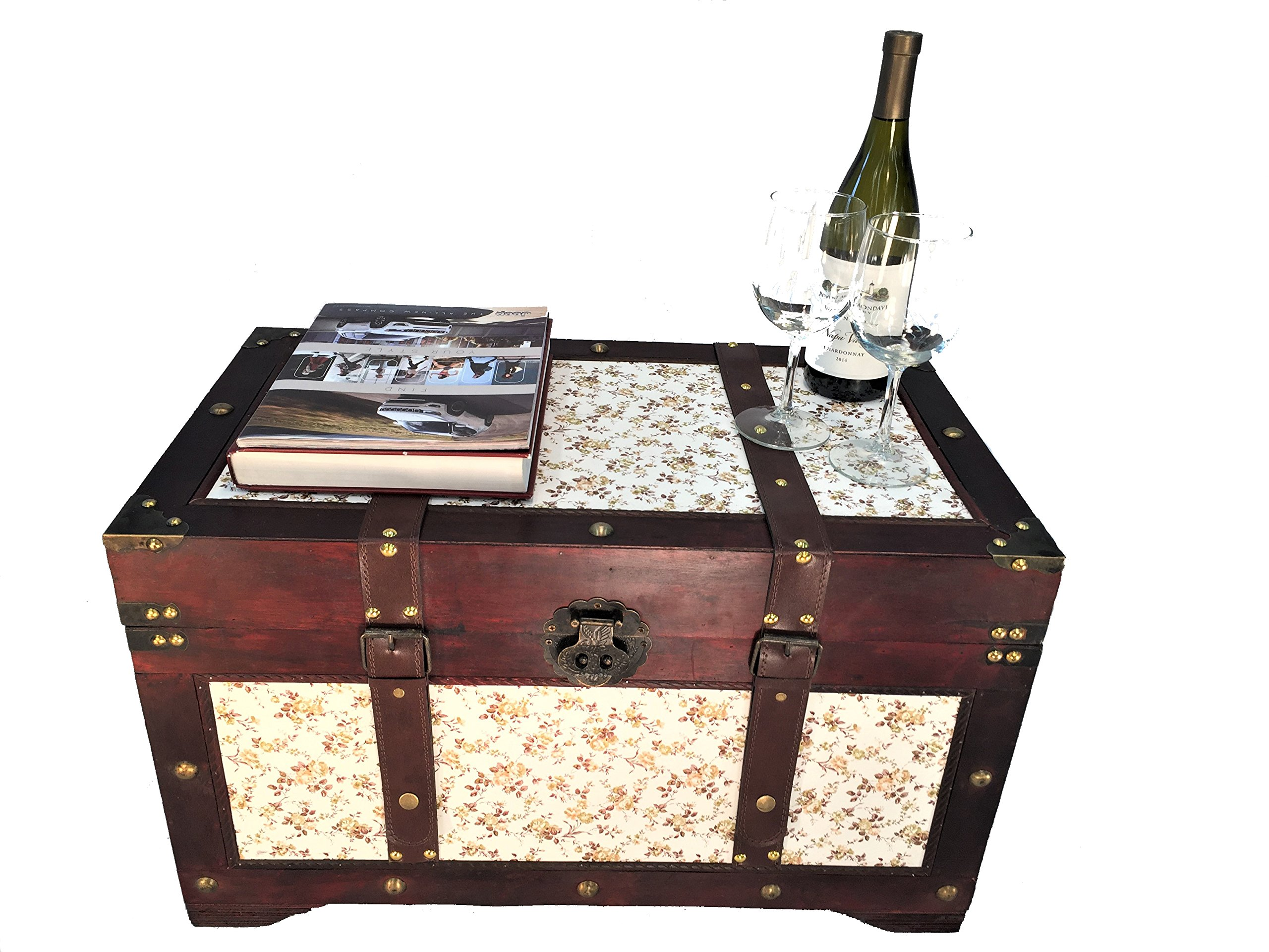Savannh Medium Wood Storage Trunk Wooden Treasure Chest Gold