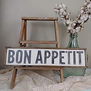 "Dozili French Kitchen Sign Bon Appetit Sign Farmhouse Wall Decor Farmhouse Kitchen Farmhouse Signs Custom Wood Sign Kitchen Signs 6"" x 20"""