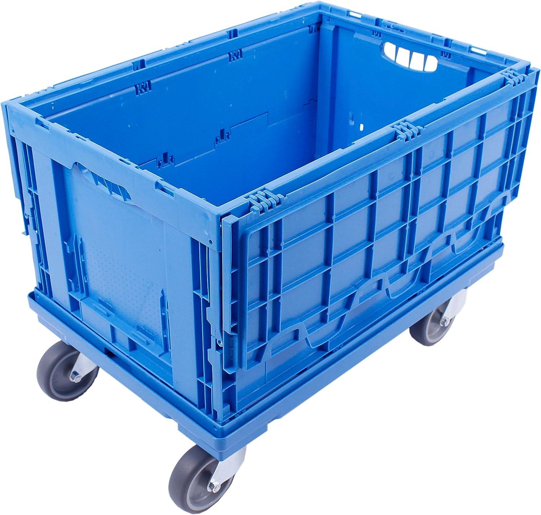 Blau 600x400 mm Rollwagen zum Transport von Kisten Fl/äche gerastert aidB Transportroller f/ür Euroboxen mit 4 Gummilenkrollen Praktischer Kistenroller