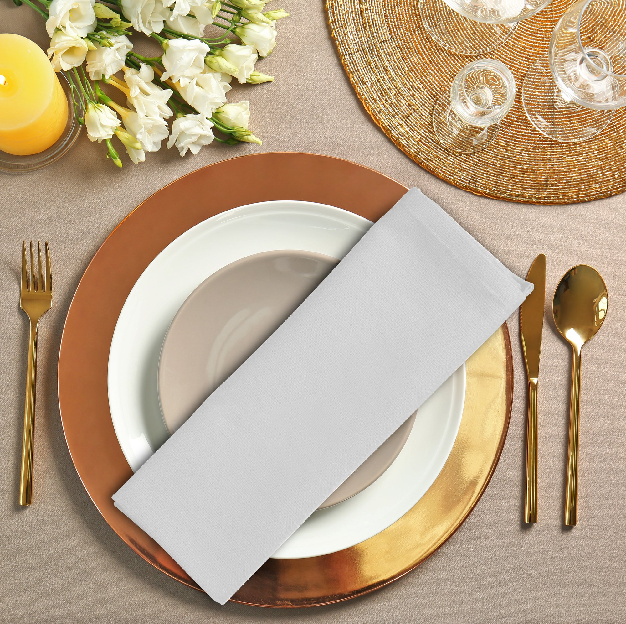 Cotton Dinner Napkins White - 12 Pack (18 inches x18 inches) Soft and Comfortable - Durable Hotel Quality - Ideal for Events and Regular Home Use - by Utopia Bedding by Utopia Bedding (Image #6)