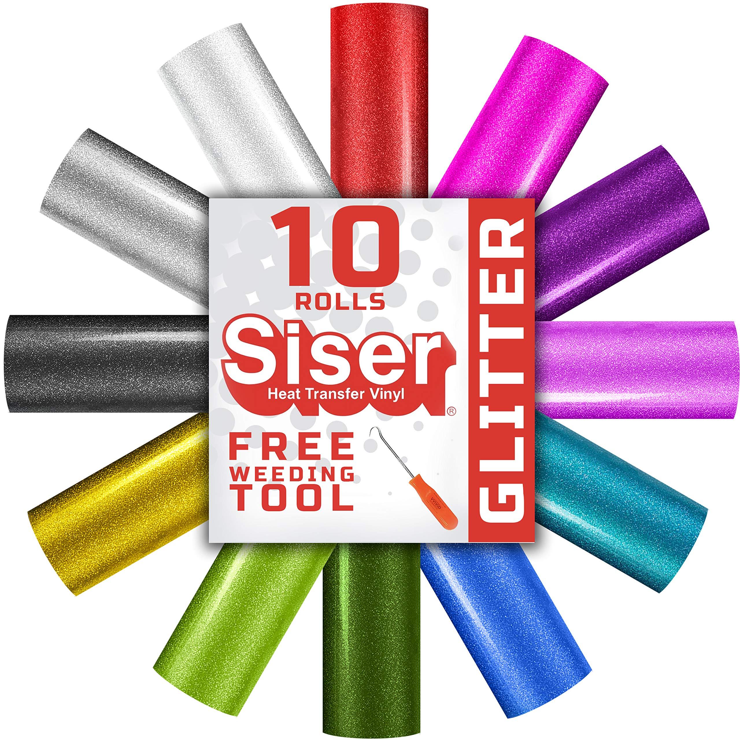 Siser Easyweed Glitter Heat Transfer Vinyl 10-Sheet Multi-Color 12'' x 20'' Roll Bundle Including Free Weeding Tool - Choose Your Own Custom Colors!