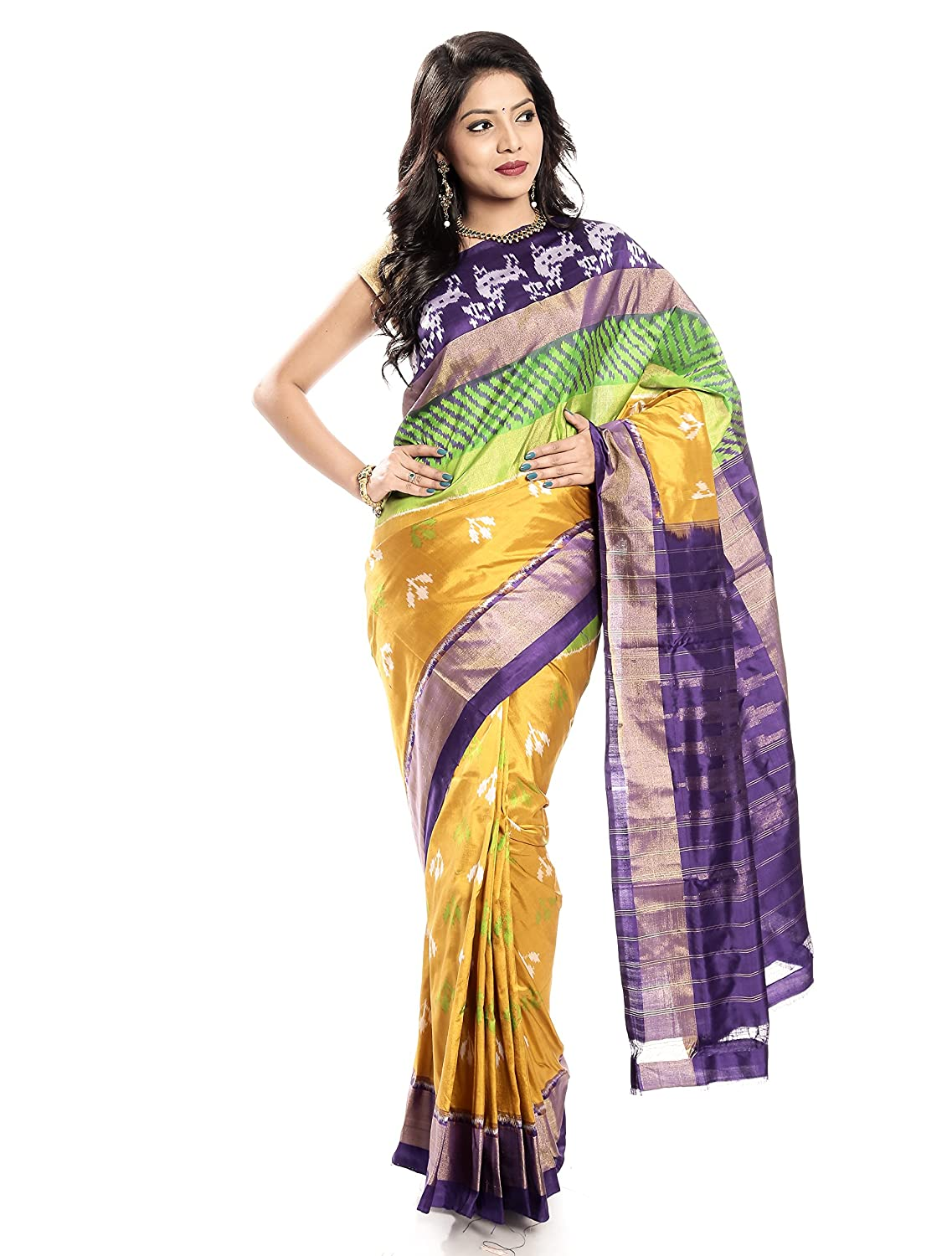 Mandakini — Indian Women's Handloom  Ikat Pure Silk Saree (Yellowpurple) (MK358)