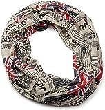 styleBREAKER fular de tubo Union Jack con estampado de periódico, estilo periódico, ligero y sedoso, unisex 01016078