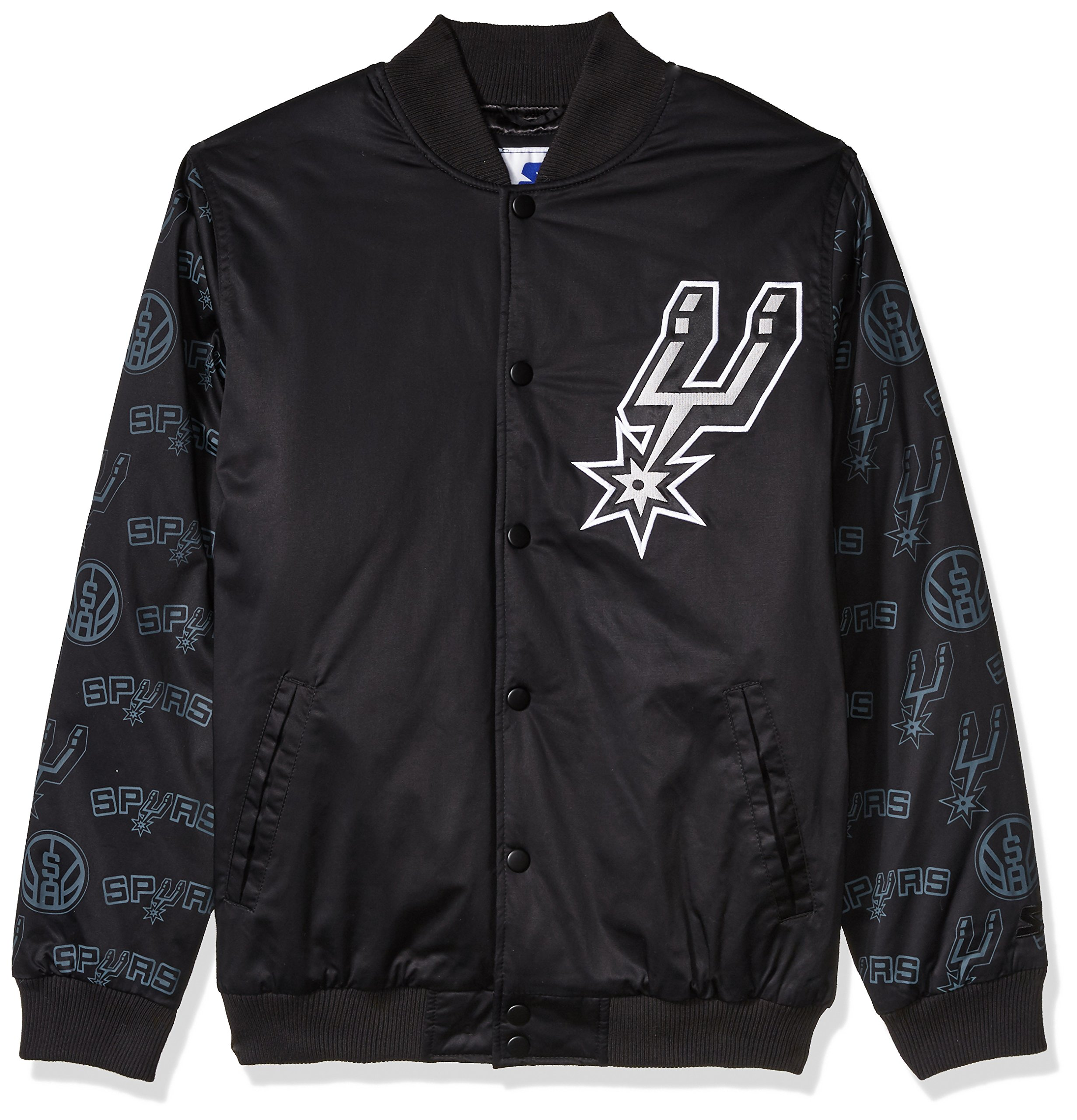 STARTER NBA San Antonio Spurs Men's Varsity Bomber Jacket, X-Large, Black by STARTER (Image #1)