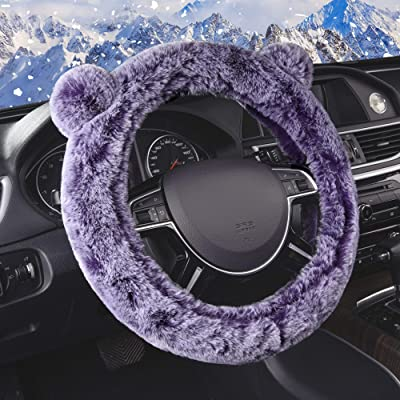 FH Group FH2011PURPLE Steering Wheel Cover Cute and Fluffy Koala Bear Universal Plush Steering Wheel Cover fits Most Cars, Trucks, SUVs, and Vans, Purple: Automotive