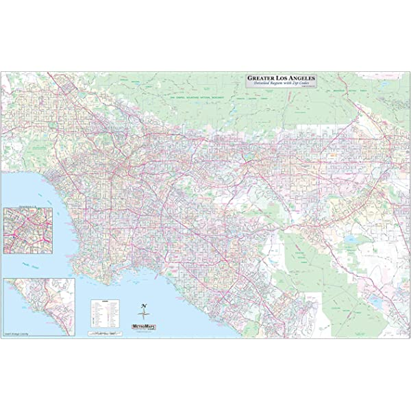 Amazon Com Los Angeles California Zip Codes 36 X 48 Paper Wall Map Office Products