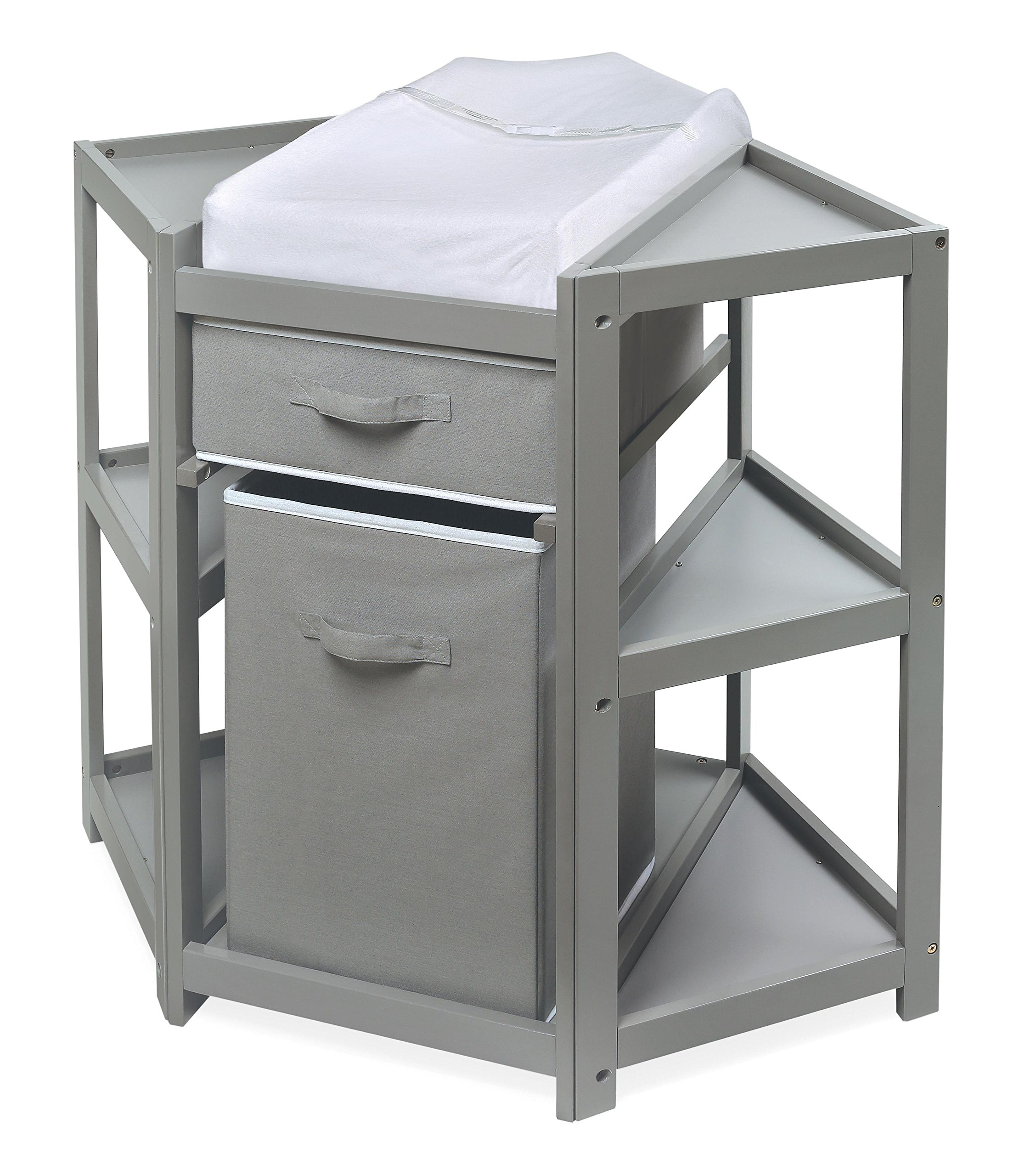 Diaper Corner Baby Changing Table with Pad, Hamper and Basket by Badger Basket