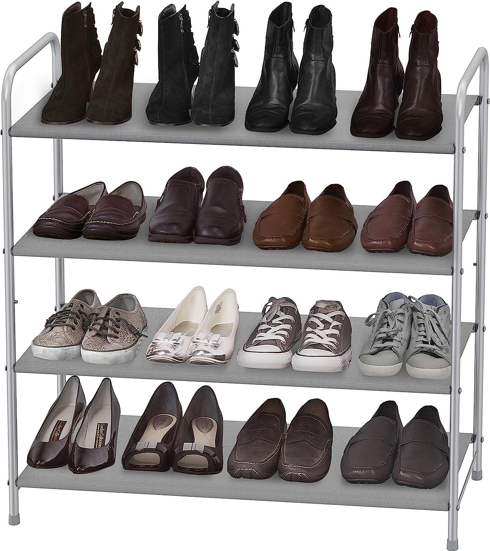 Simple Houseware 4-Tier Shoe Rack Storage Organizer, Grey