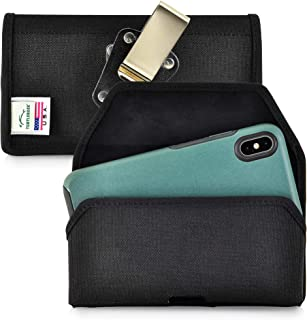 product image for Turtleback Belt Clip Case Designed for iPhone 11 Pro Max (2019) / XS Max (2018) with OB Symmetry, Black Nylon Holster Pouch with Heavy Duty Rotating Belt Clip, Horizontal Made in USA