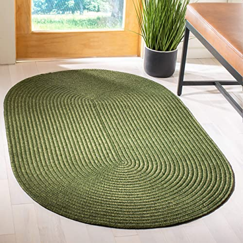 Safavieh Braided Collection BRD315A Hand Woven Green Oval Area Rug 5 x 8 Oval
