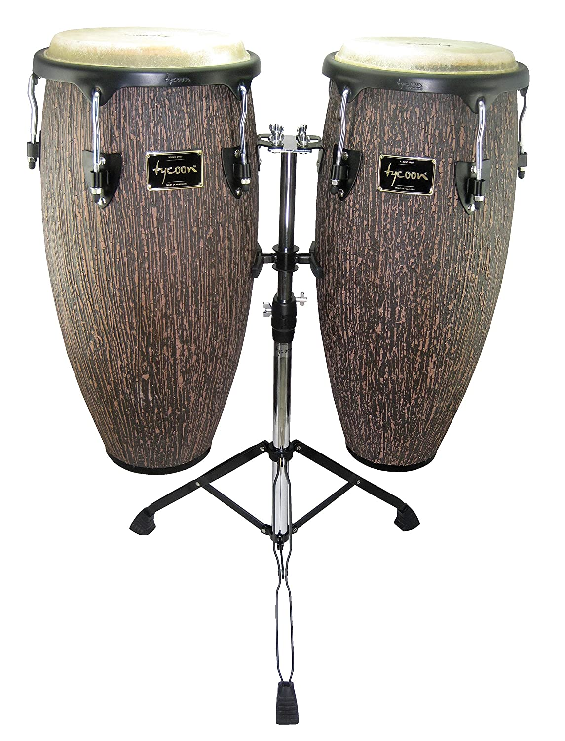 Tycoon Percussion SUPREMO Select Conga Set 10 and 11 in Lava Wood Finish with Double Stand BX1 (STCS-1BLW/D)