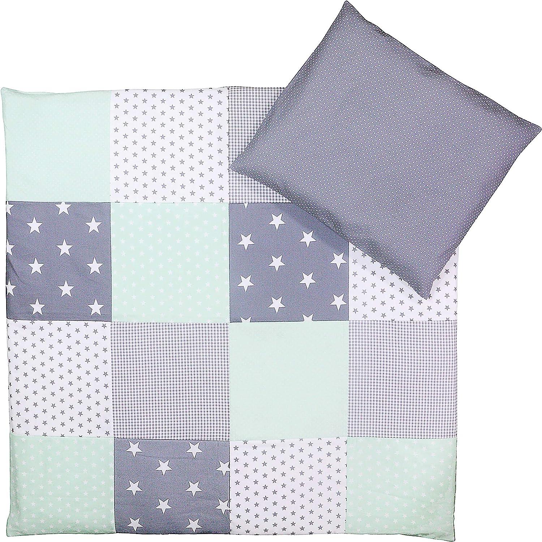Blue Green Elephants ULLENBOOM//® Baby Bedding Set/ 2-Piece Baby Bed Linen Set: 35/x 40/cm Pillowcase, 80/x 80/cm Quilt Cover