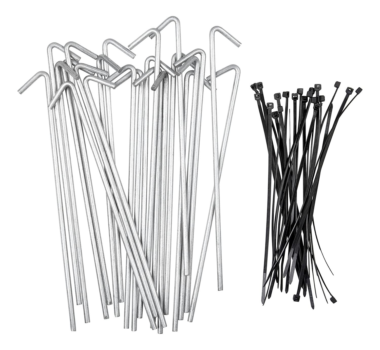 Stepton Paquete DE 50 Piquetas Galvanizadas para Tiendas de Campaña/Estacas de Metal para Anclar Tiendas, Telas Paisajísticas, Lonas, etc. 19 Centímetros, Viene con 50 Bridas