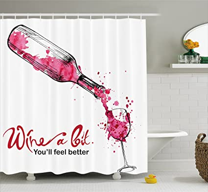 Ambesonne Wine Shower Curtain A Bit You Feel Better Inspirational Quote Bottle Pouring Sketch
