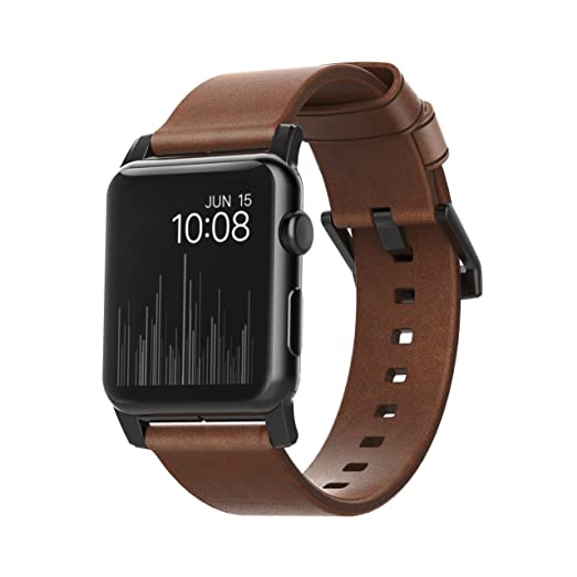 Nomad Horween Leather Strap For Apple Watch   42mm Modern Build   Classic Bold Design   Custom Stainless Steel Lugs And Buckle   Black Hardware by Nomad