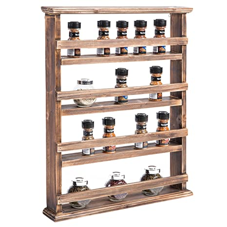Mygift 4 Tier Country Rustic Wall Mounted Wood Spice Rack Display Shelves