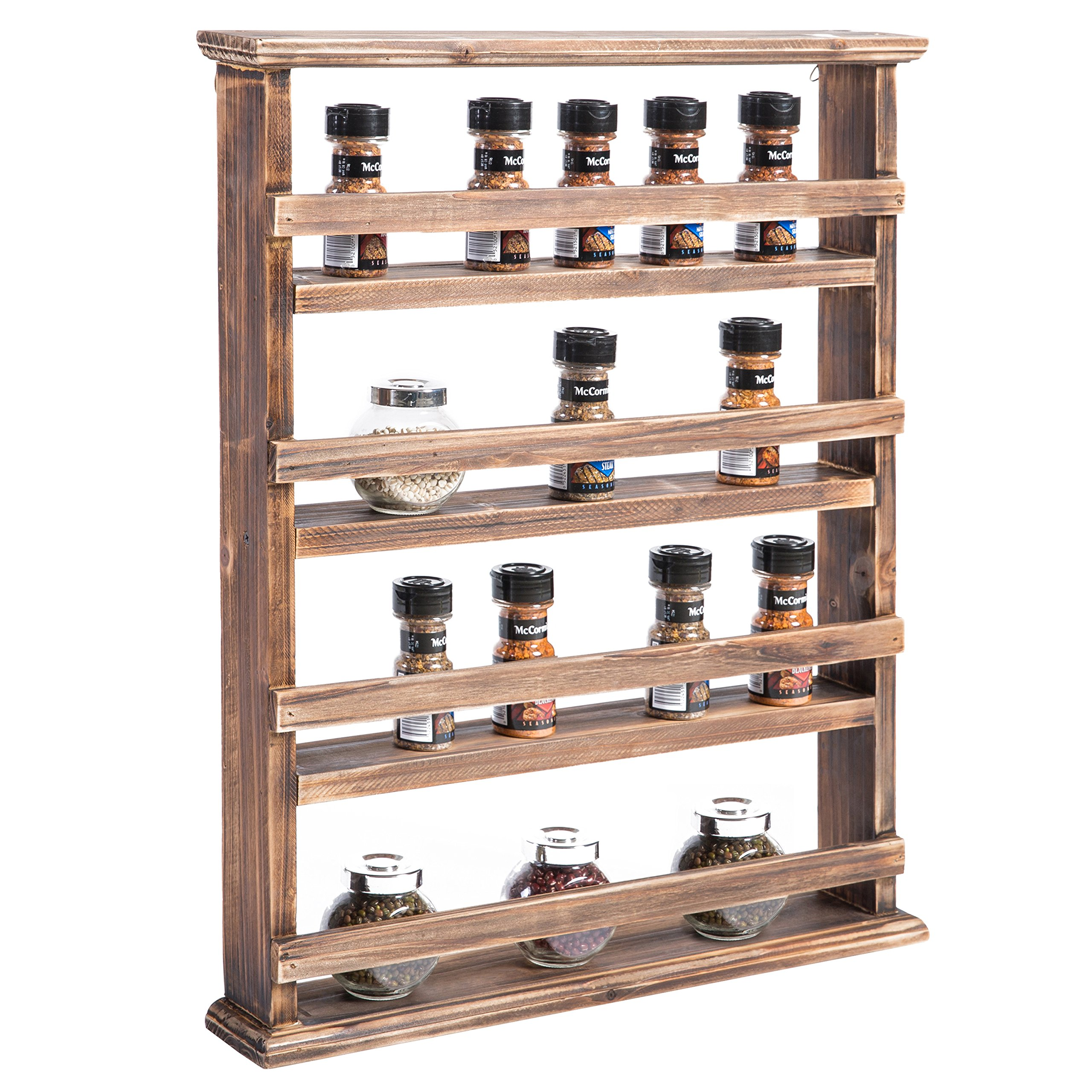 MyGift 4-Tier Country Rustic Wall-Mounted Wood Spice Rack Display Shelves