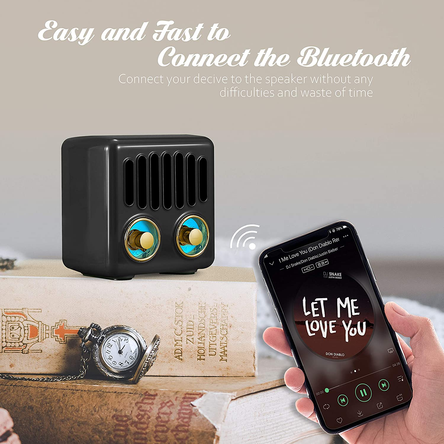 Blue TF Cards with Speaker Best Sounds AUX Input Retro Radio Vintage Bluetooth Speaker FM Radio 800mAh Rechargeable Battery Design Lovely Apperance Supported Bluetooth