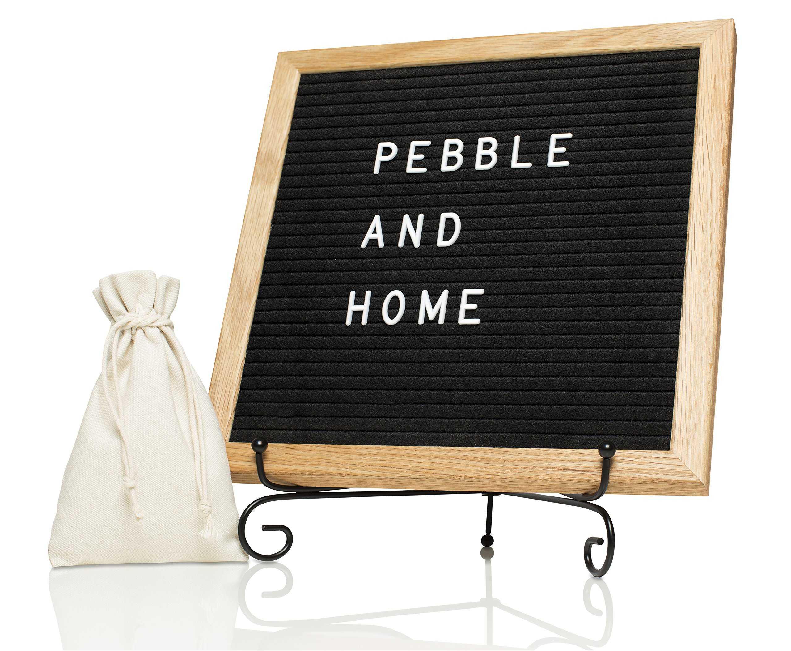 Black Changeable Felt Letter Board - 10x10 Inches with Oak Frame, Metal Stand, Wall Mount, Canvas Bag, 335 White Letters, Numbers & Symbols