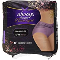12 Count (1 Package), Small/Medium - Always Discreet Boutique Incontinence Underwear Maximum, Mauve, Purple