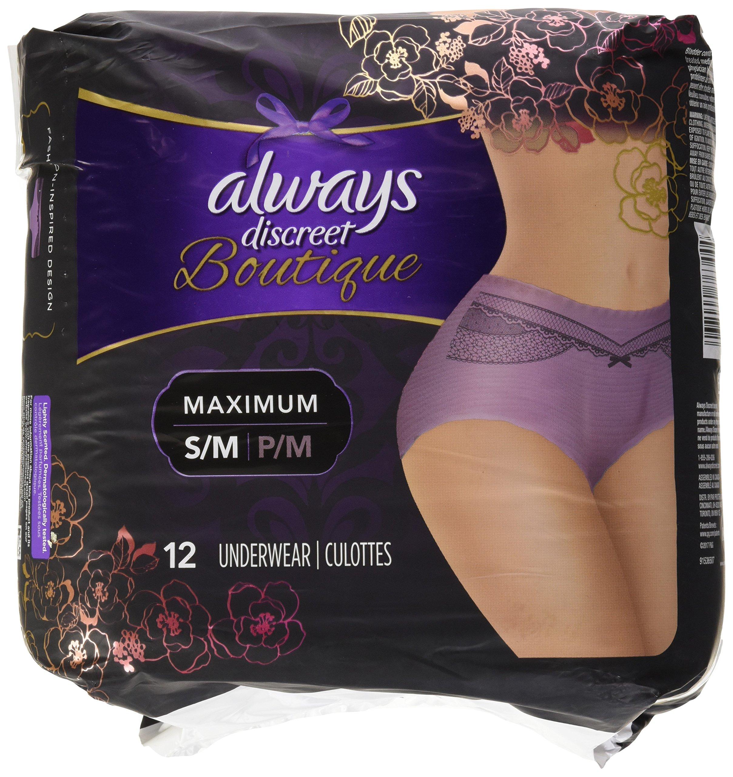 12 Count (1 Package), Small/Medium - Always Discreet Boutique Incontinence Underwear Maximum, Mauve