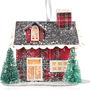 Binen Christmas Hanging Ornament Village Story House Lit House - Christmas LED Light Up Corrugated Cardboard House - Xmas Tree Holiday Seasonal Décor Gift Home Party Décor