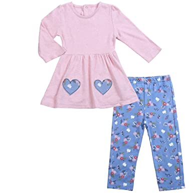 0d24fa499 Infant Baby Outfits Girls Tunic Top Shirt Leggings Floral Pink Set 0-3  Months