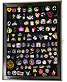 Lapel Pin Pins Display Case Cabinet Wall Rack Holder Disney Hard Rock Military Pins (Black Finish)