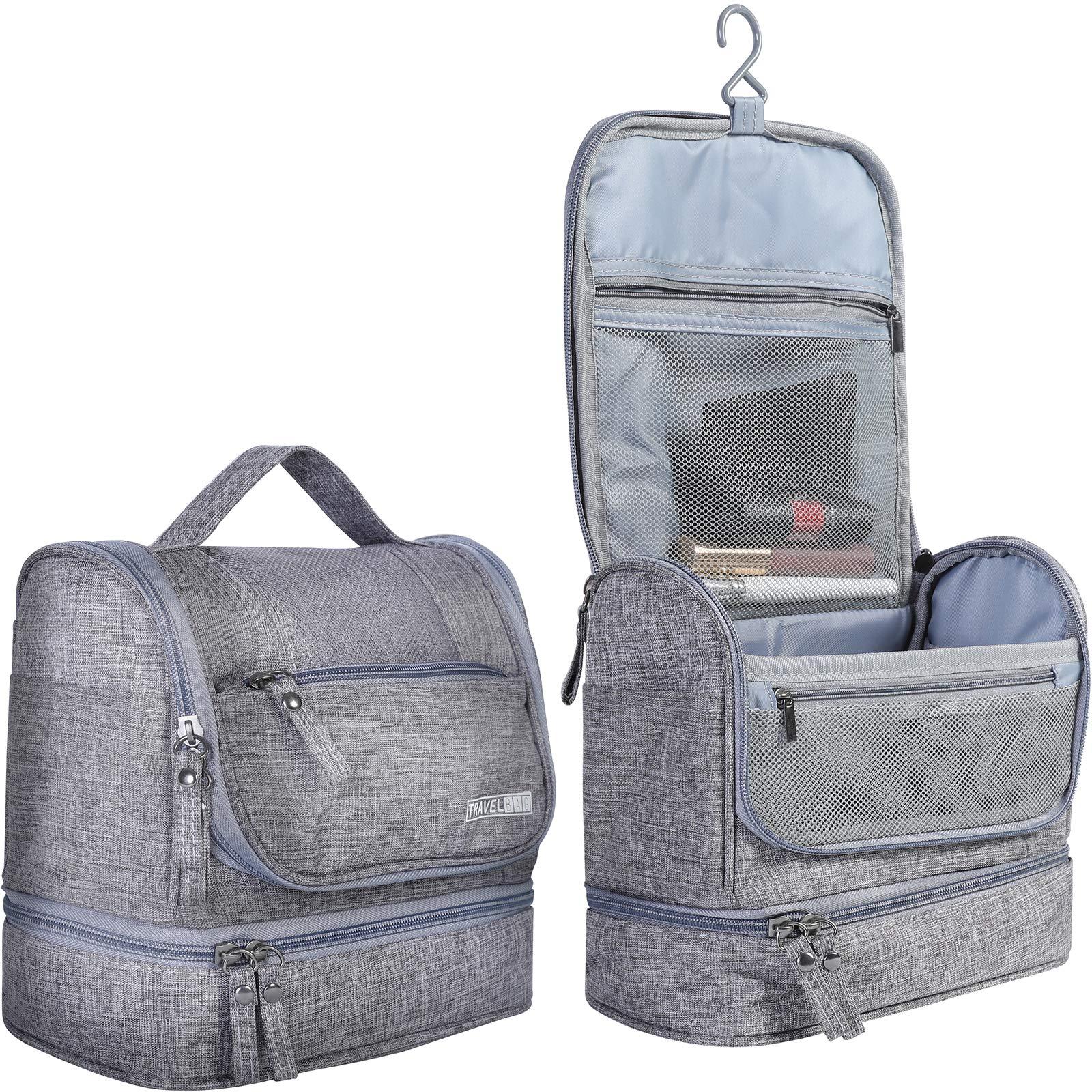 HOKEMP Toiletry Bag Travel Waterproof Cosmetic Bag Multifuncation Organizer Bag Portable Makeup Pouch - Gray
