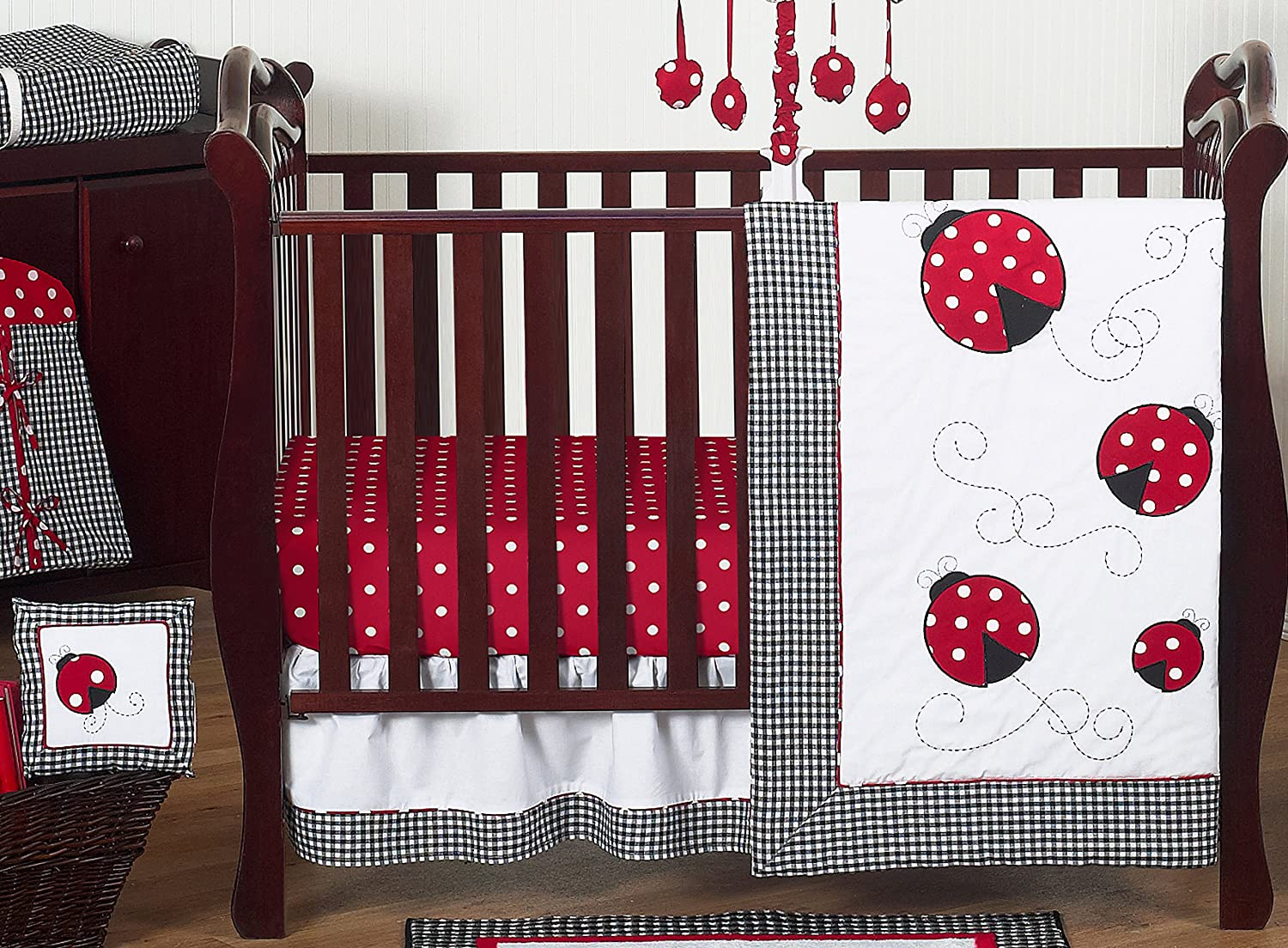 Sweet Jojo Designs 11-Pc Red/White Polka Dot Ladybug Bedding Crib Set W/O Bumper