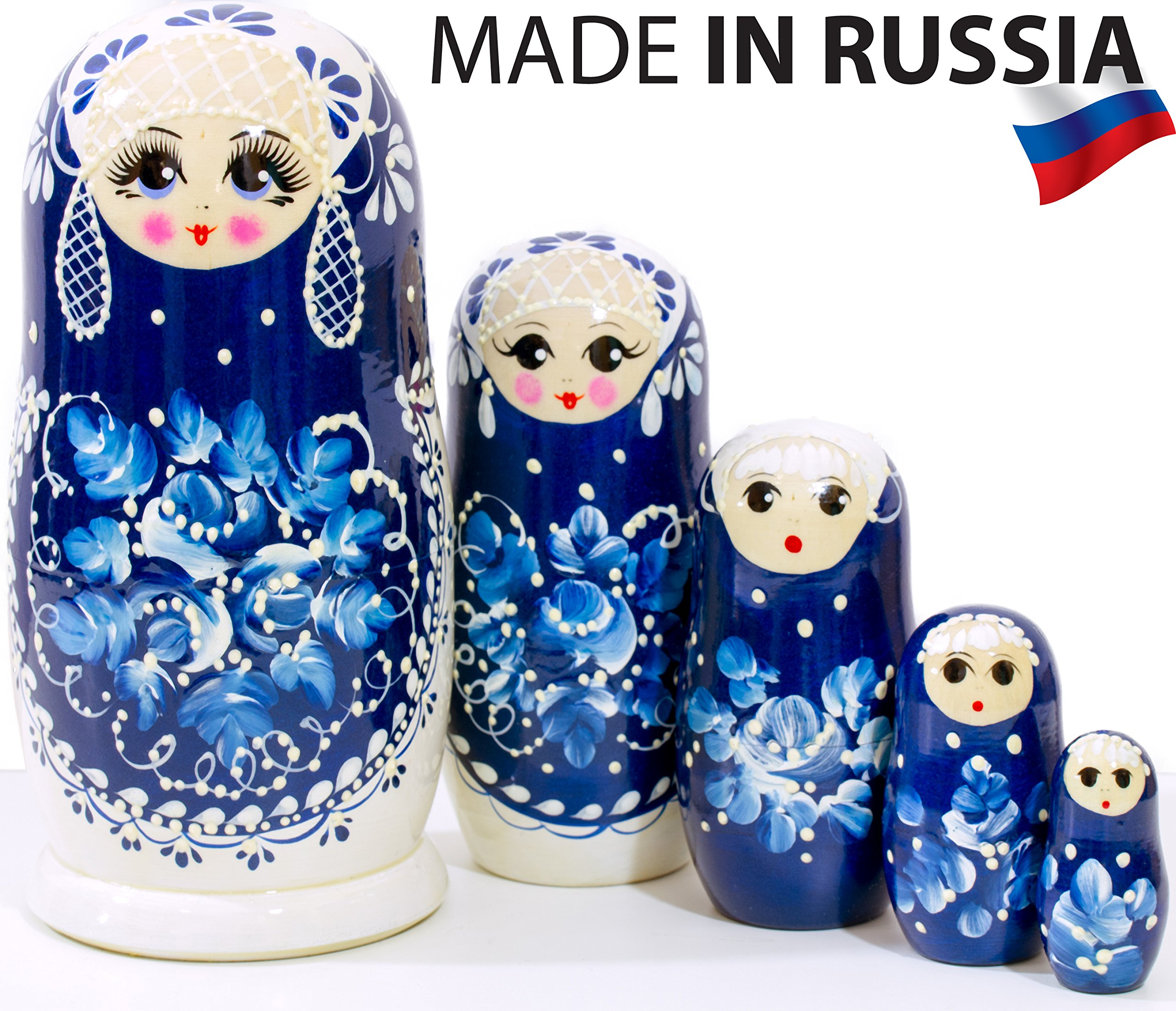 Russian Nesting Doll -Snow Queen - Hand Painted in Russia - MEDIUM SIZE - Traditional Matryoshka Babushka (6.75`` (5 dolls in 1), Blue) (6.75`` (5 dolls in 1), Snow Queen)