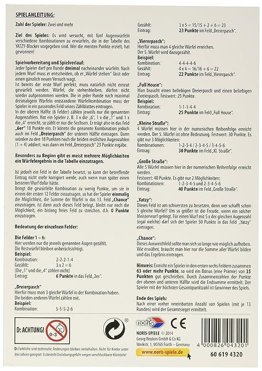 Noris Spiele 606194320 - Yatzy, Spielblock im Maxi-Format: Amazon.de ...