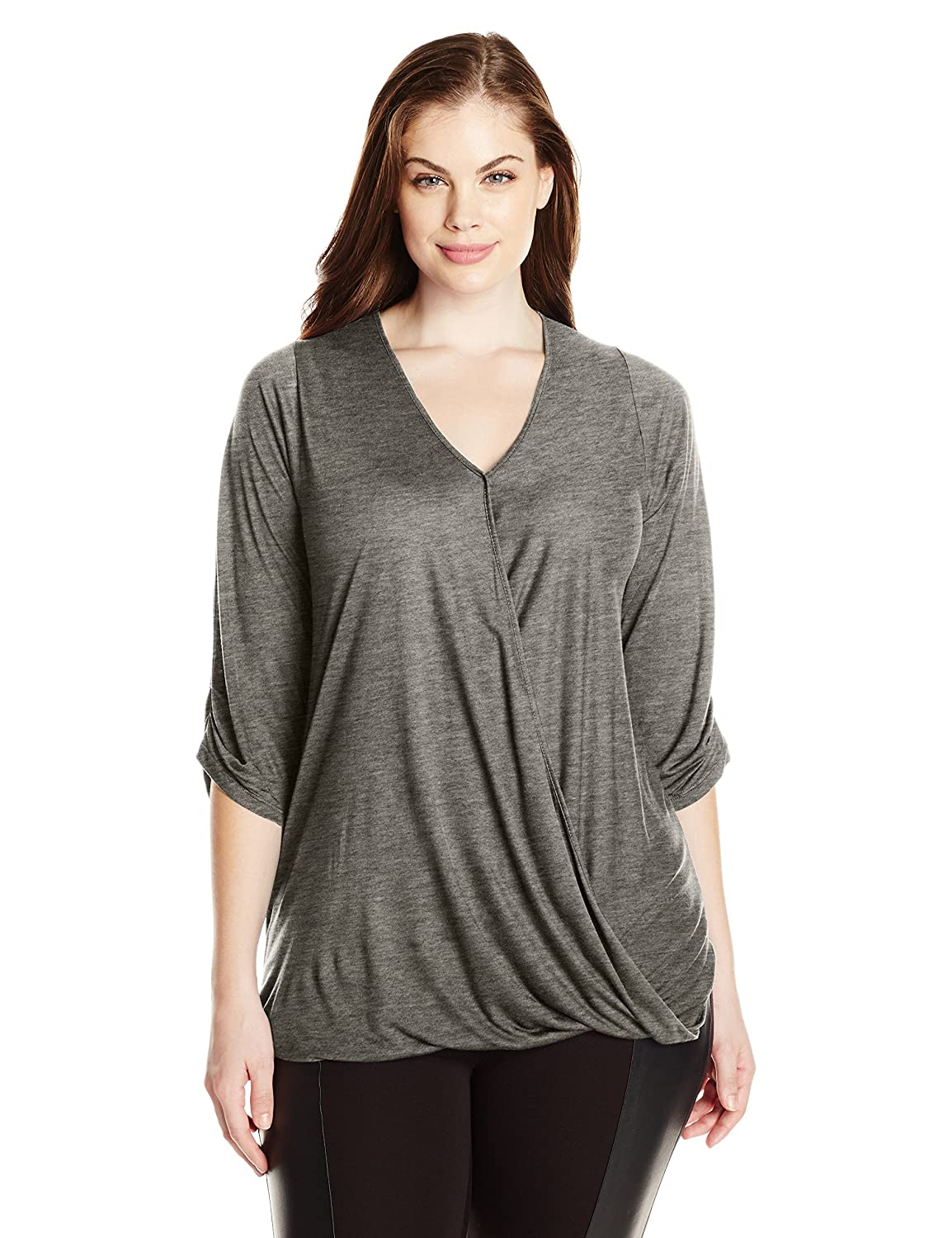 Paper Tee Womens Plus-Size V-Neck 3//4 Sleeve Drape Front Top