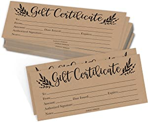 25 Rustic Blank Gift Certificates for Small Business, Floral Kraft Paper Voucher for Massage, Hair & Nail Salon Spa, Restaurants, and DIY Coupon Cards for Birthday, Mom Valentines Day, Him & Her, 4x9