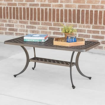 WE Furniture Cast Aluminum Wicker Style Coffee Table   Antique Bronze