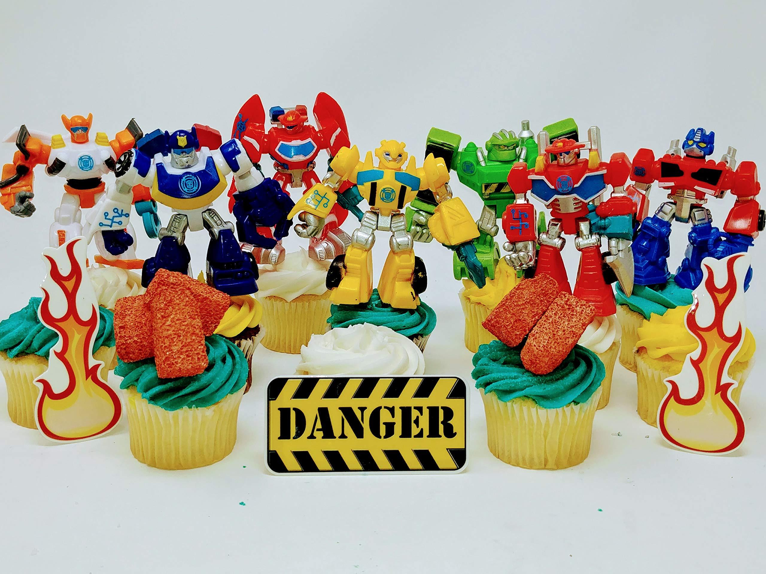TRANSFORMER Birthday Cupcake Topper Set Featuring RANDOM Transformer Figures and Accessories