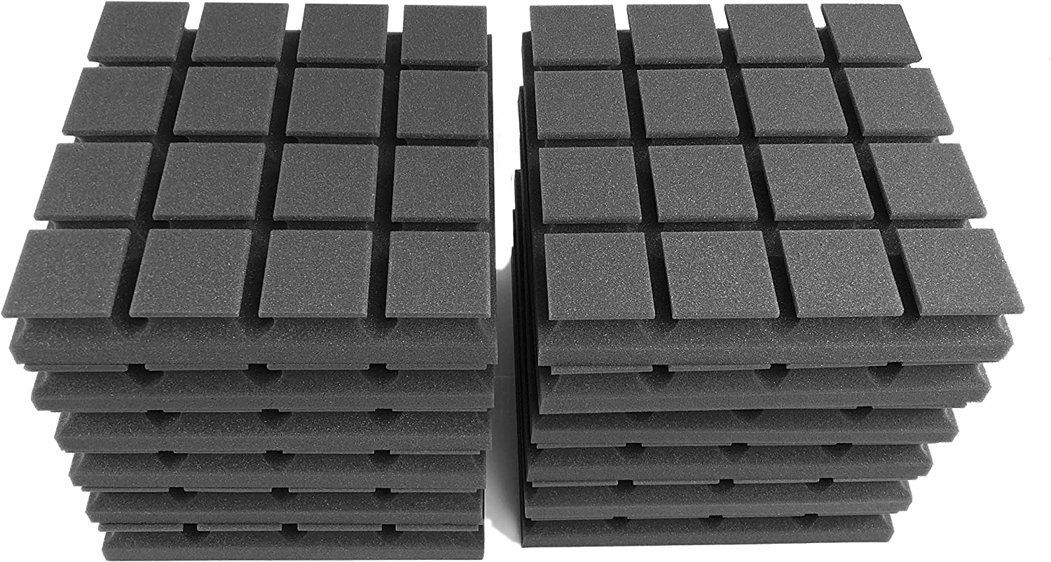 5 cm Thick Dimensions 30 x 30 cm AcousPanel Pro Acoustic Panels with Resonators Composed of Professional Grade Acoustic Foam Self Extinguishing Pack of 12 - Charcoal Grey