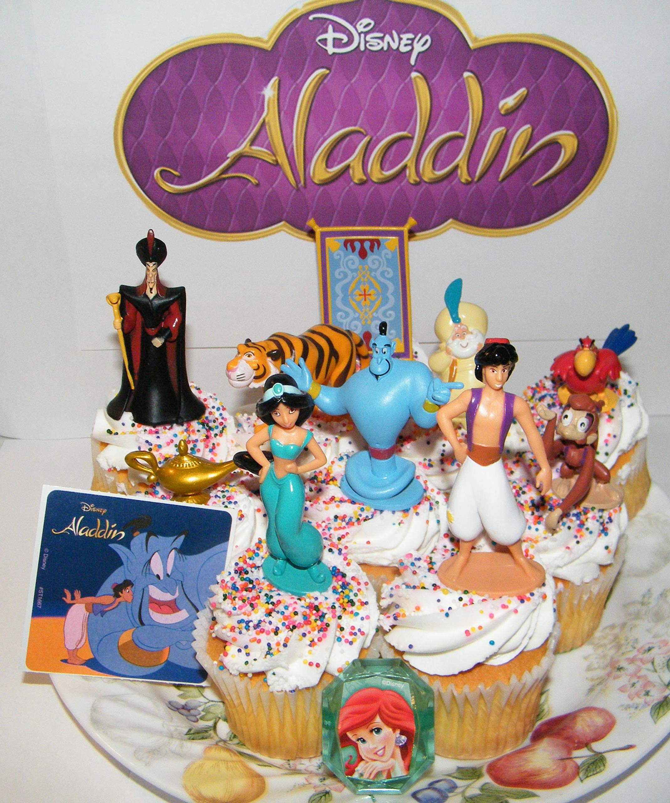 Aladdin Movie Deluxe Cake Toppers Cupcake Decorations 12 Set with 10 Figures, Aladdin Sticker and PrincessRing Featuring Fun Characters, Magic Lamp, Flying Carpet Etc! by WDW