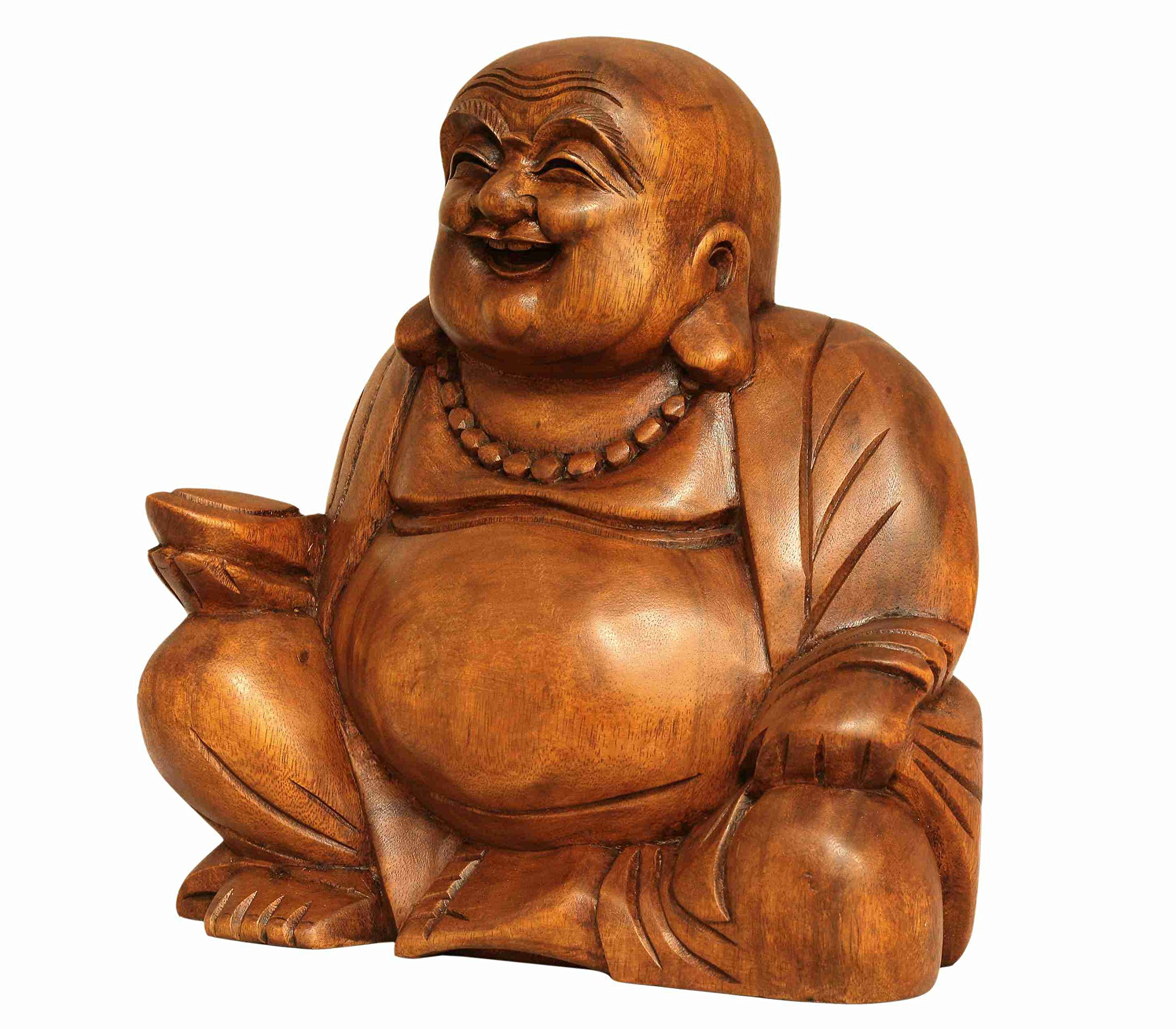 G6 COLLECTION 8'' Wooden Laughing Happy Buddha Handmade Art Statue Handcrafted Sculpture Home Decor (Small) by G6 Collection (Image #3)