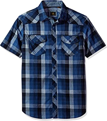 Big and Tall Light Breathable Cotton with Chest Pockets Regular Fit LEE Men/'s Button Down Plaid Shirt Casual Short Sleeve