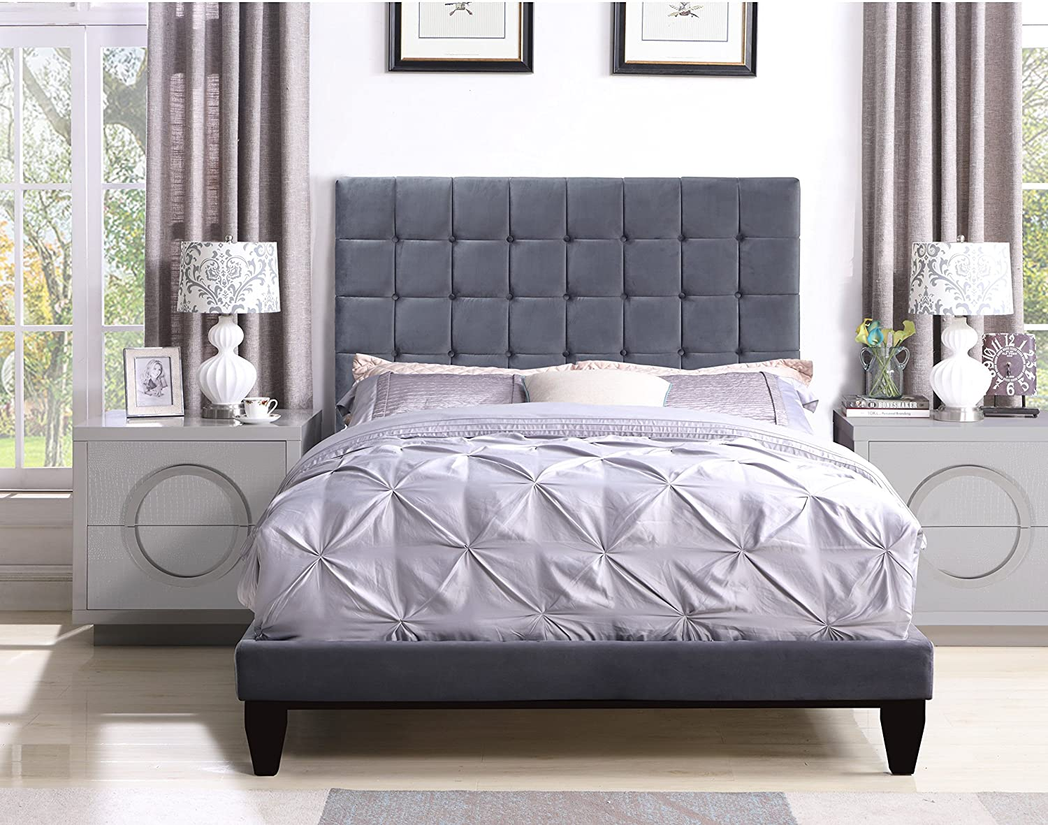 Iconic Home Beethoven Bed Frame with Headboard Velvet Upholstered Button Tufted Tapered Birch Legs Modern Transitional, King, Grey