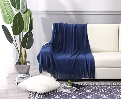 Fantastic Alpha Home Throw Blanket With Fringe For Couch Chair Bed Picnic Camping Travel 50 X 60 Navy Dailytribune Chair Design For Home Dailytribuneorg