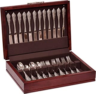 product image for American Chest F00M Traditions Flatware Chest, Solid American Cherry Hardwood with Rich Mahogany Finish & Anti-Tarnish Lining, Multicolor