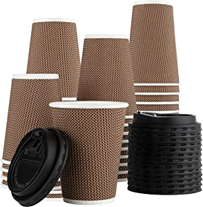 [12 Sets - 16 oz.] Insulated Rippled Double Wall Paper Hot Espresso Coffee Cups With Lids, Light Brown