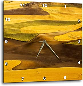 3dRose Aerial of Harvest in The Rolling Hills of The Palouse Region. - Wall Clocks (DPP_333018_1)
