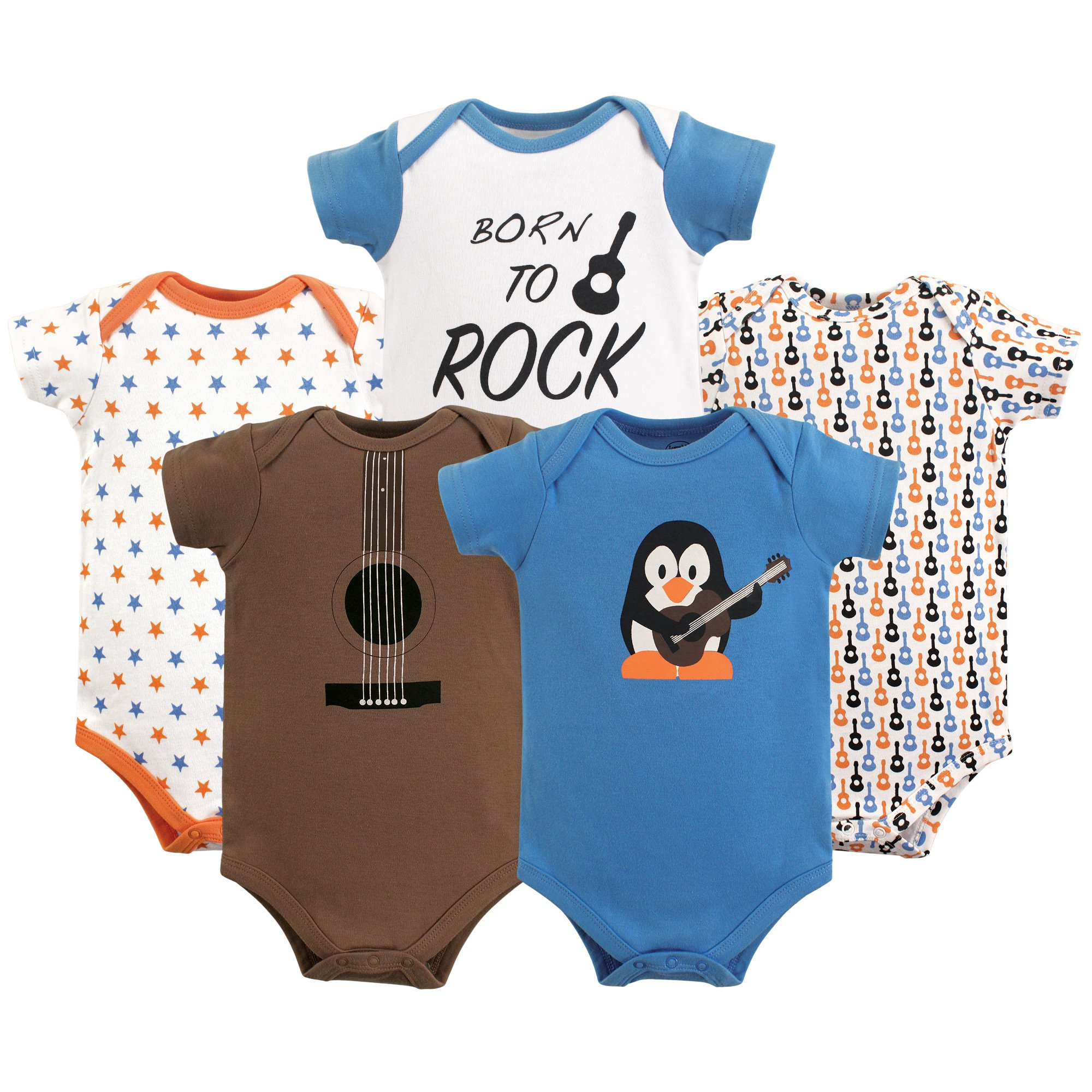 Luvable Friends Baby Infant Basic Bodysuit, 5 Pack, Penguin Guitar, 6M(3-6 Months) by Luvable Friends